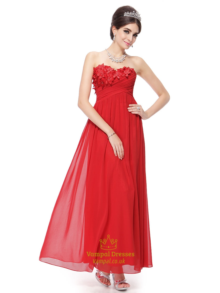 Red chiffon bridesmaid dresses vampal dresses red chiffon strapless floor length bridesmaid dresses with floral detail ombrellifo Images