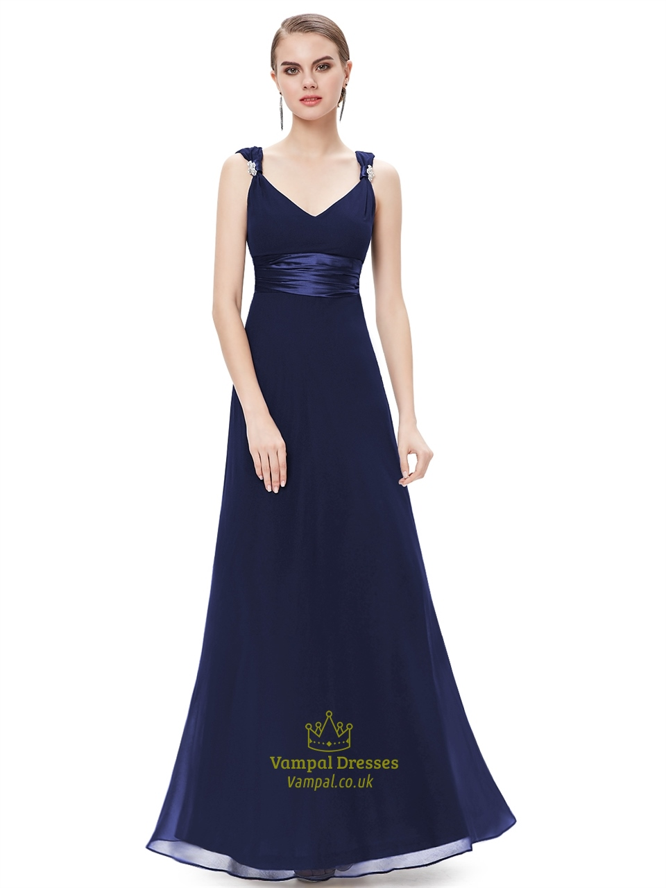 Navy blue v neck chiffon long bridesmaid dresses with for Navy blue wedding dress