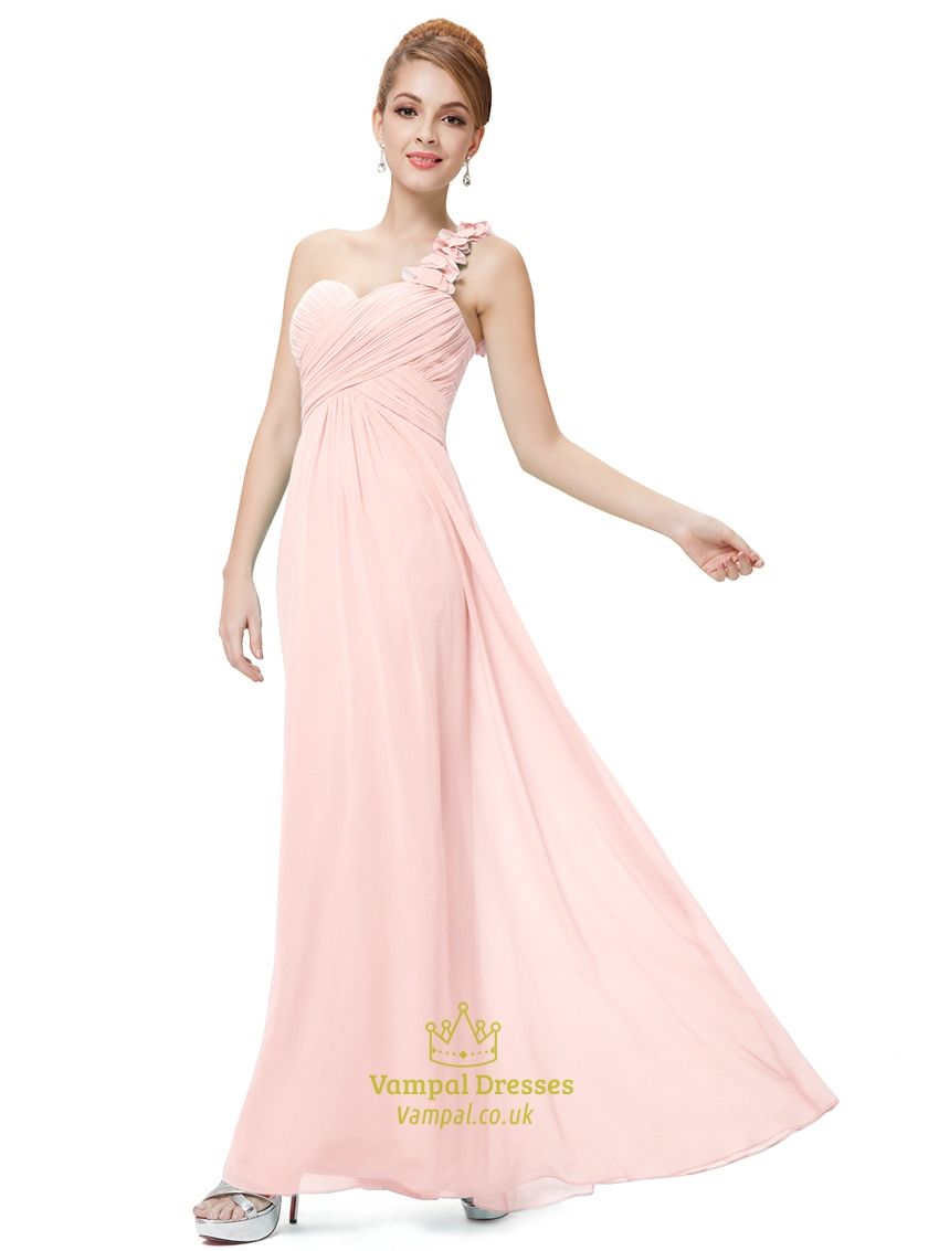 light pink one shoulder flower strap chiffon bridesmaid
