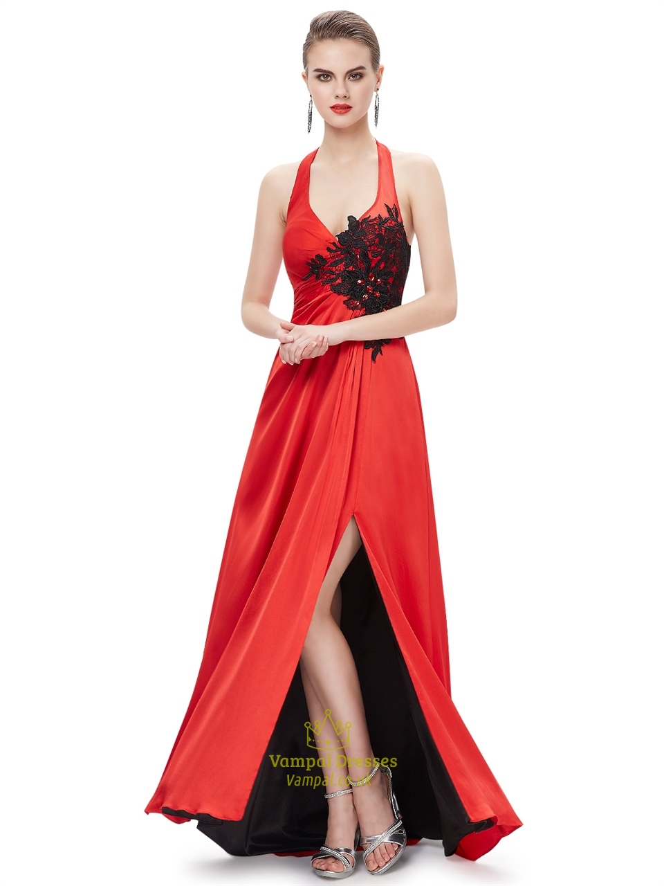 Red Halter Neck Side Slits Prom Dress With Black Lace