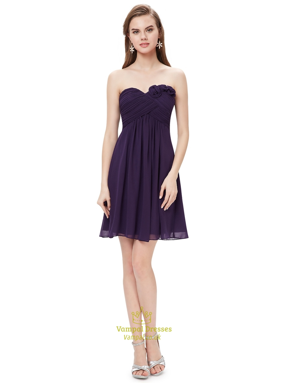 Purple Sweetheart Chiffon Short Bridesmaid Dresses With