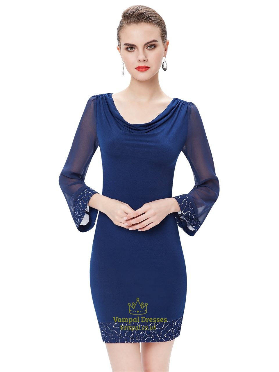 Royal Blue Chiffon Sheath Long Sleeves Cocktail Dress With ...