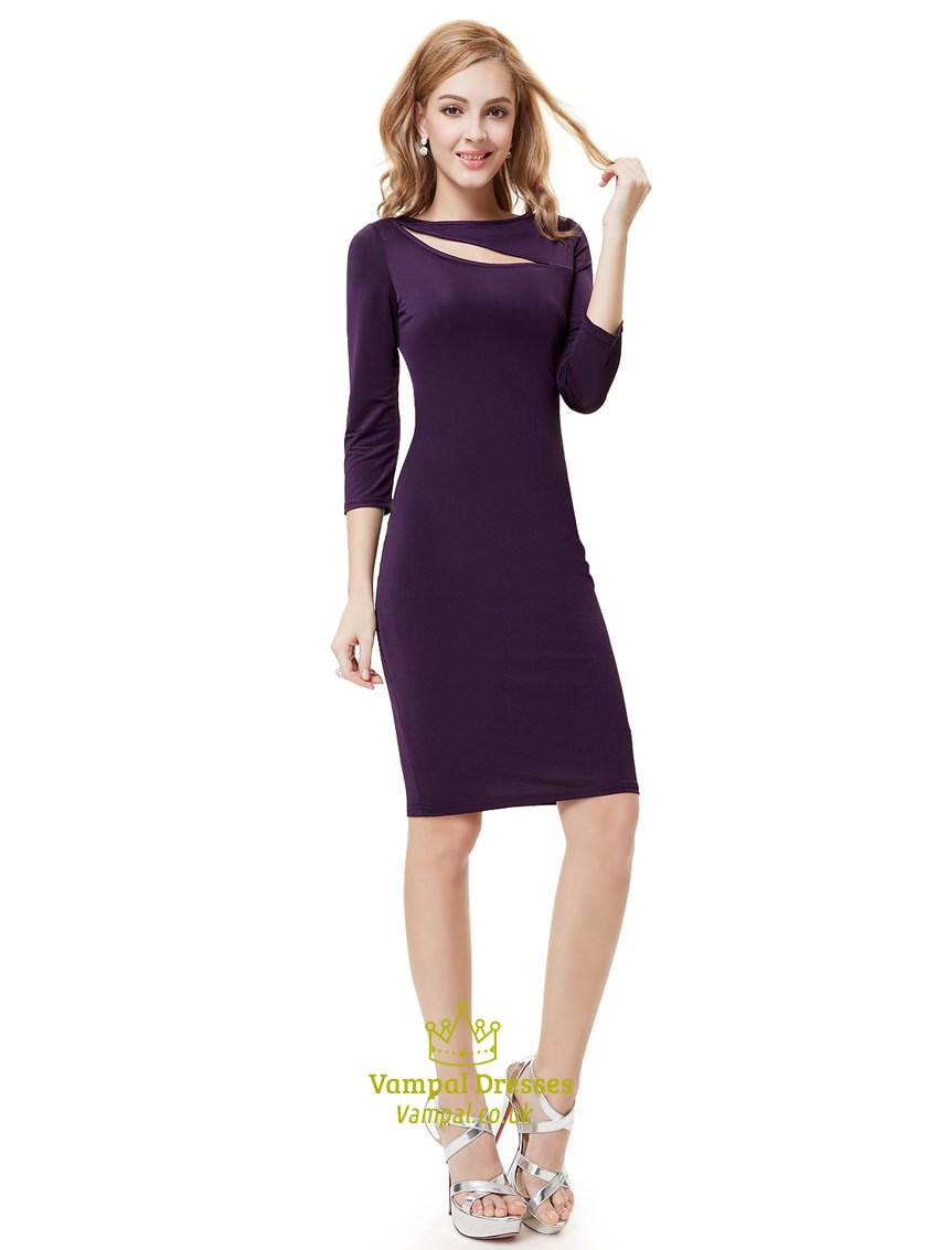 b48f4d9d Dark Purple Knee Length Sheath Cocktail Dress With Cutout Detail ...