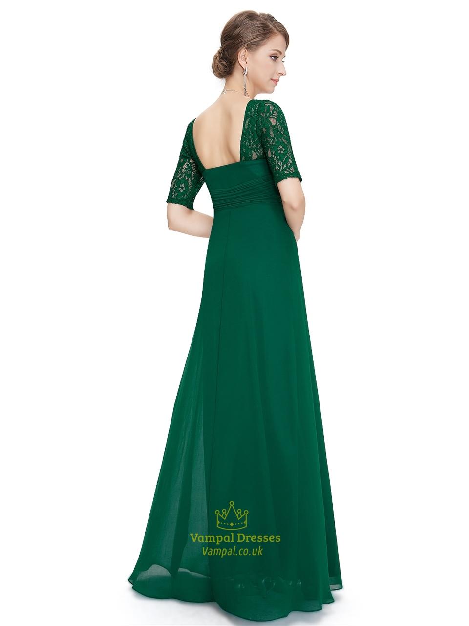 Emerald green empire waist chiffon bridesmaid dresses with for Emerald green dress for wedding
