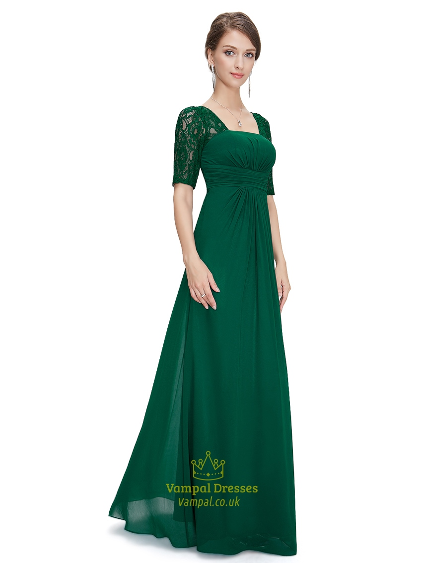 Emerald green empire waist chiffon bridesmaid dresses with for Wedding dress chiffon sleeves