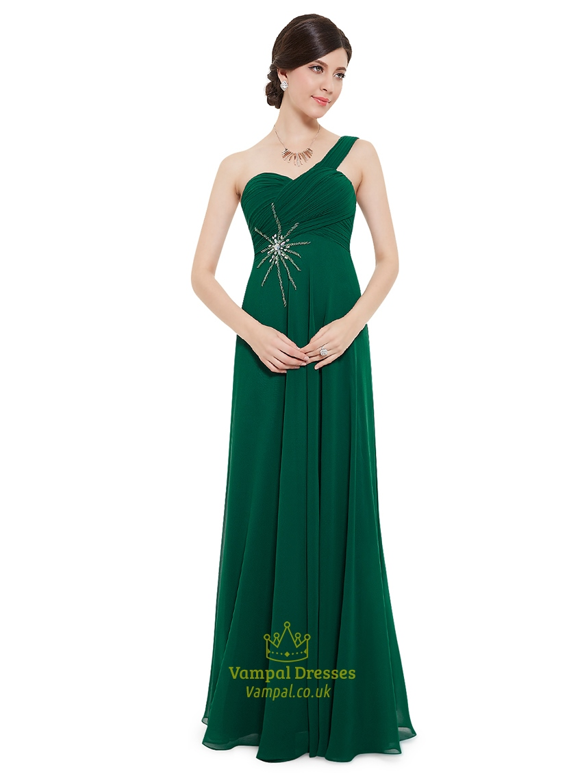 Emerald green one shoulder chiffon bridesmaid dresses with for Emerald green dress for wedding