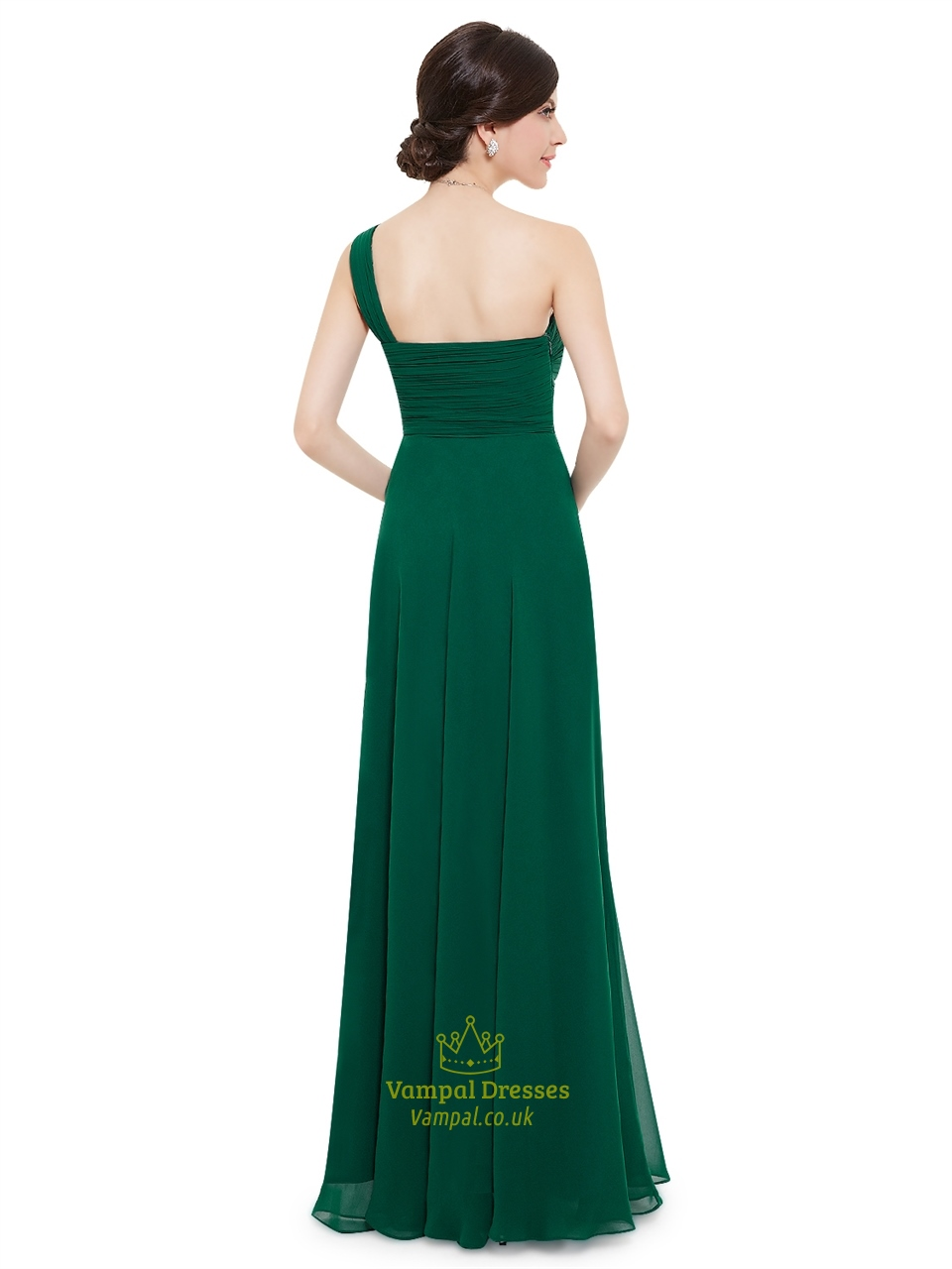 emerald green one shoulder chiffon bridesmaid dresses with
