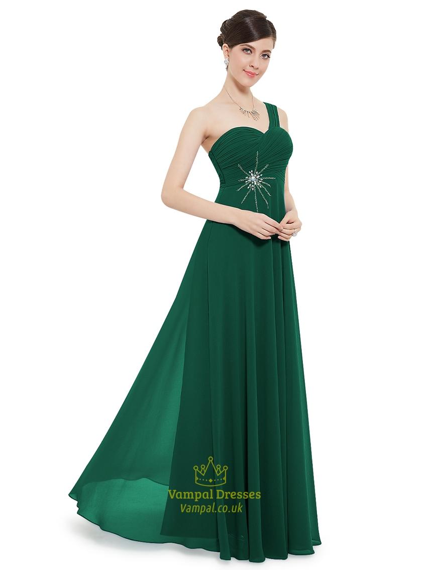 Emerald green one shoulder chiffon bridesmaid dresses with beaded emerald green one shoulder chiffon bridesmaid dresses with beaded detail ombrellifo Choice Image