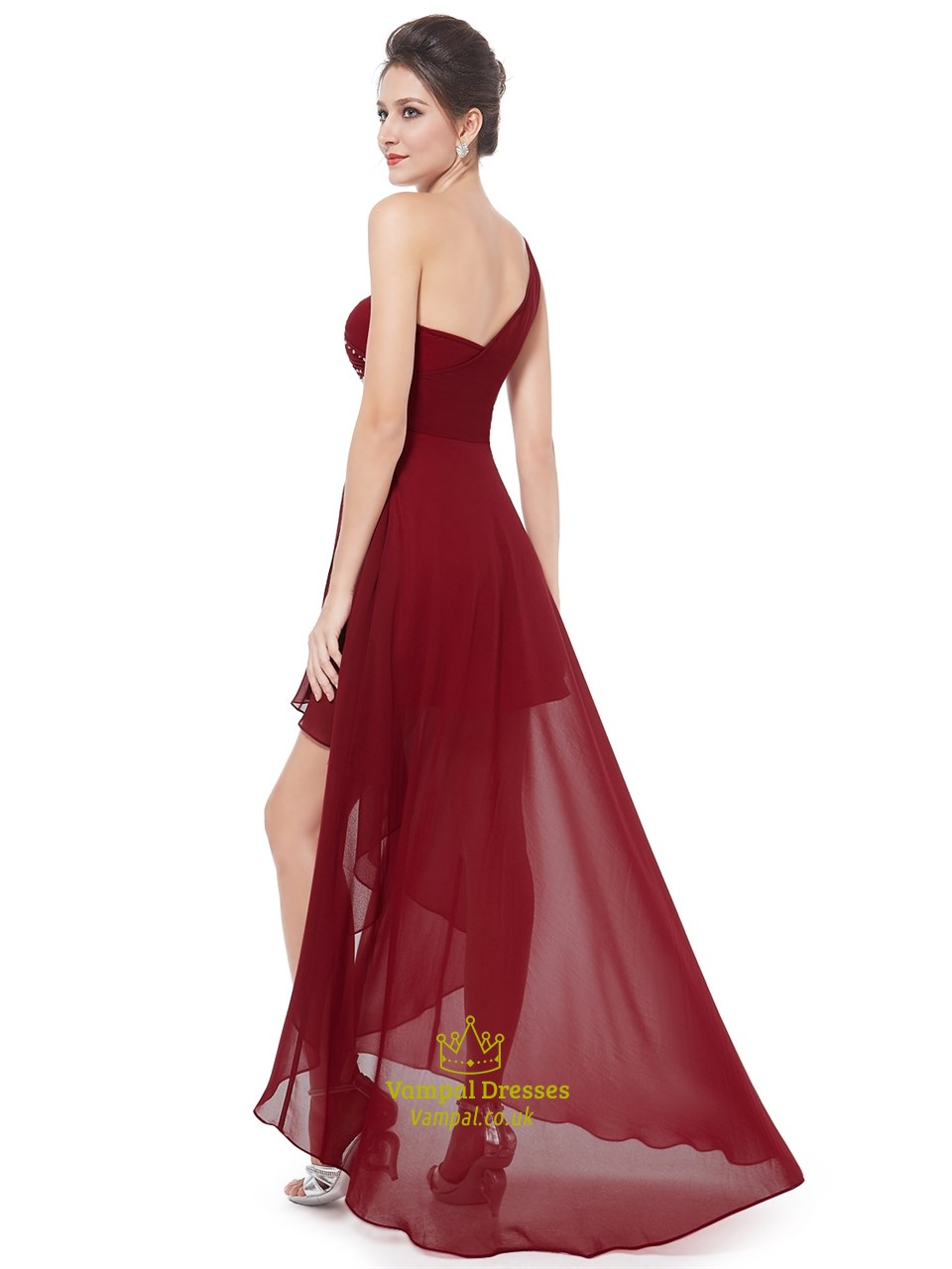 Burgundy One Shoulder High Low Bridesmaid Dresses With