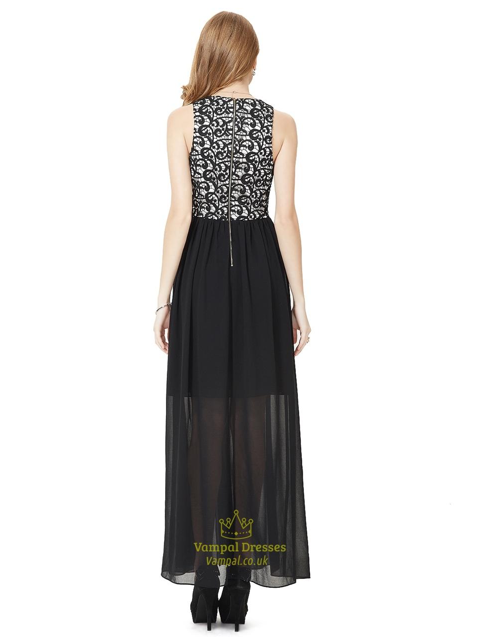 Black Lace Bodice Chiffon Bridesmaid Dress With Split