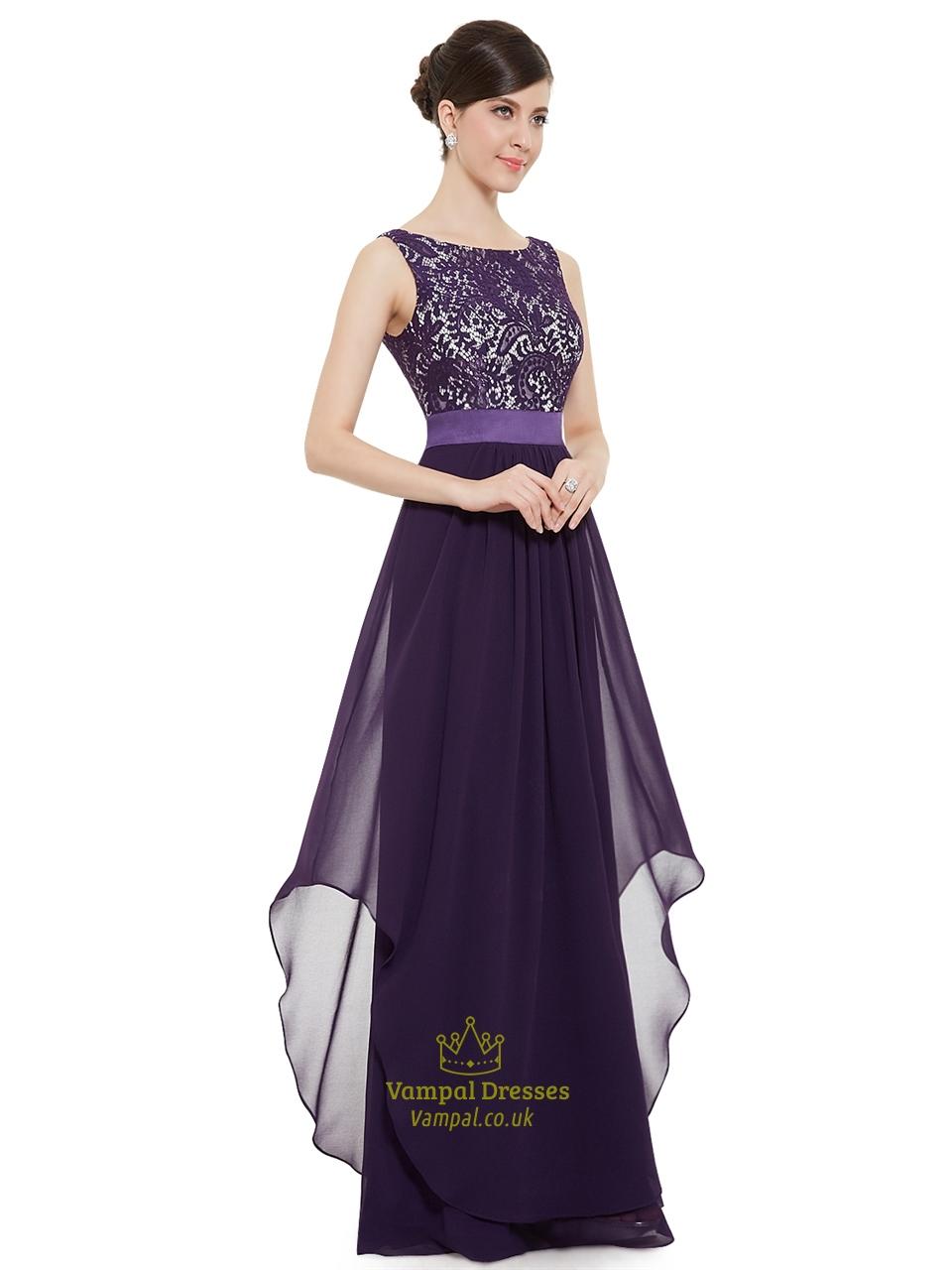 0c7e5d3710 Purple Chiffon Lace Bodice Chiffon Skirt Floor Length Bridesmaid Dresses SKU  -NW1415