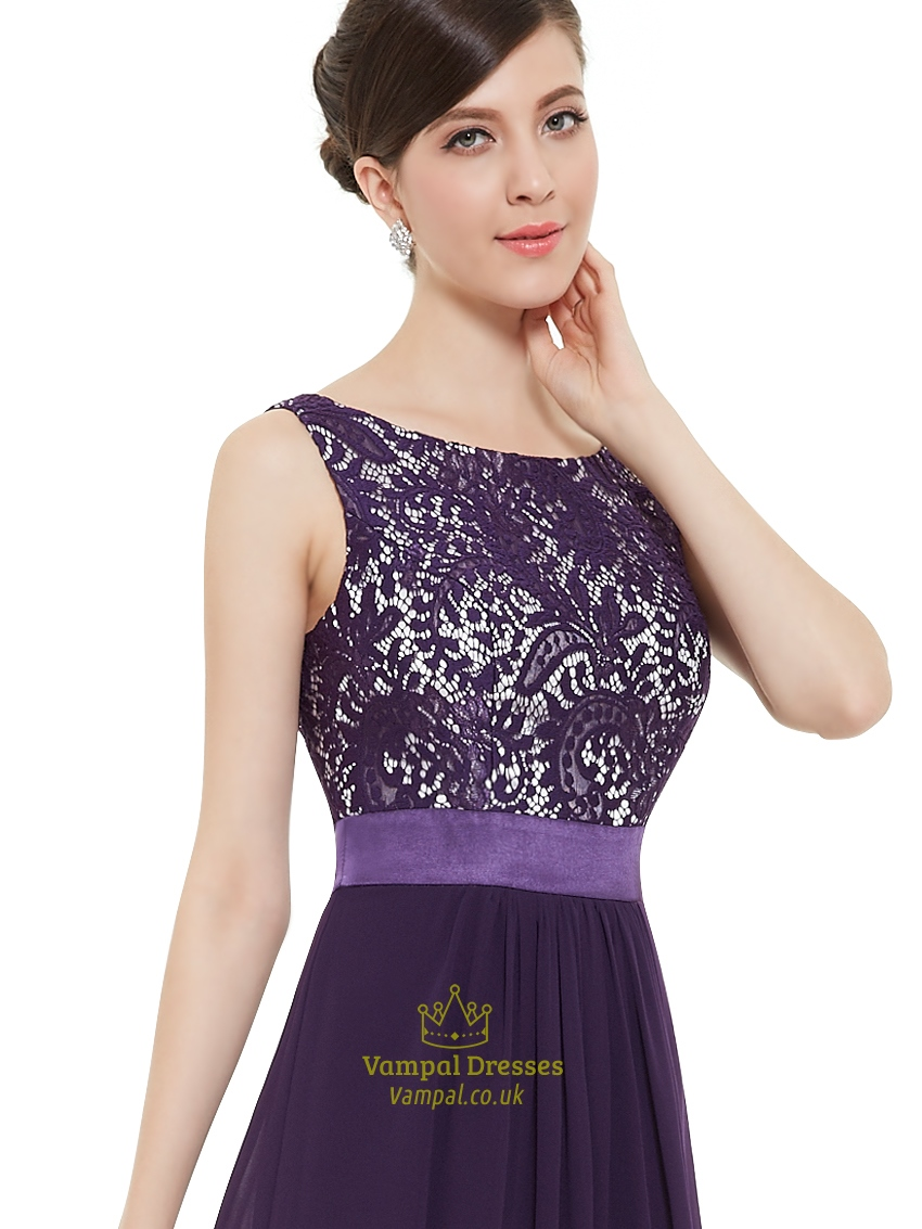 Purple Chiffon Lace Bodice Chiffon Skirt Floor Length Bridesmaid ...