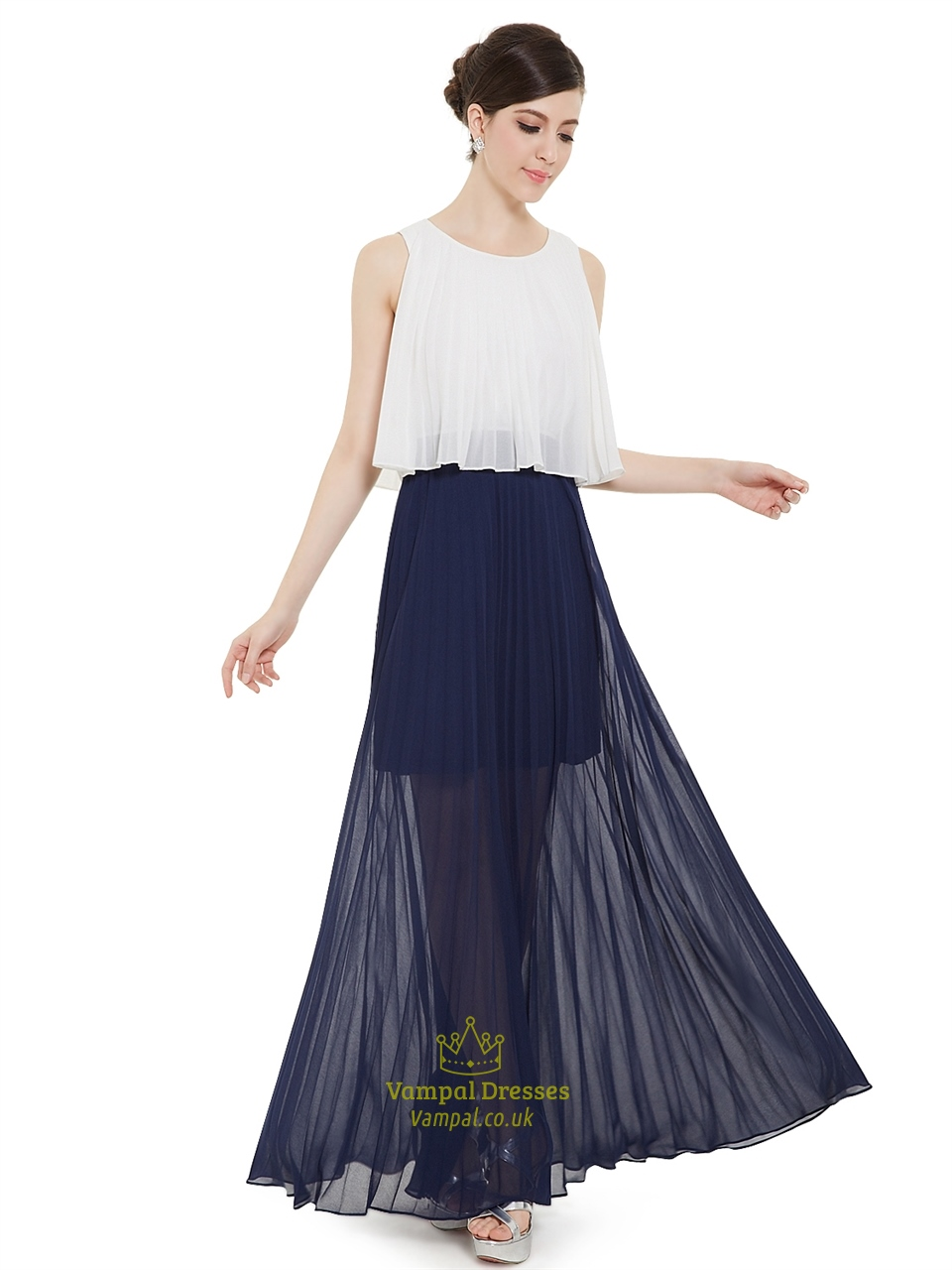 White And Navy Blue Crinkle Chiffon Bridesmaid Dress With Sheer ...