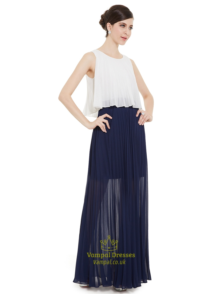 White and navy blue crinkle chiffon bridesmaid dress with for Navy blue and white wedding dress