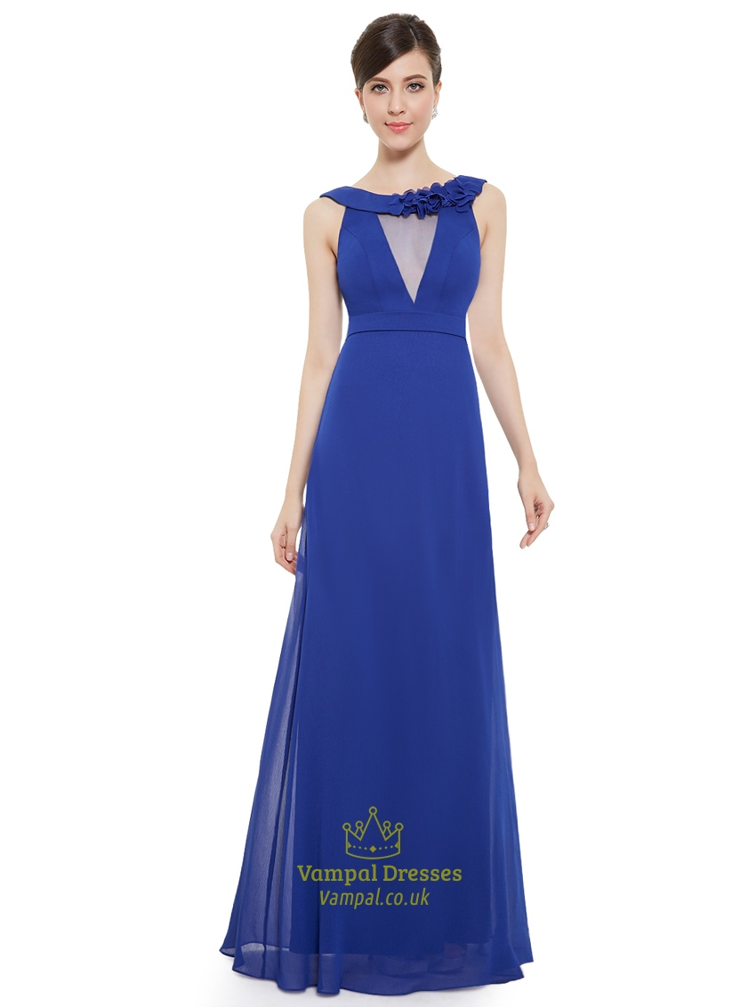 Royal blue chiffon jewelled neckline bridesmaid dress with for Wedding dress with blue detail