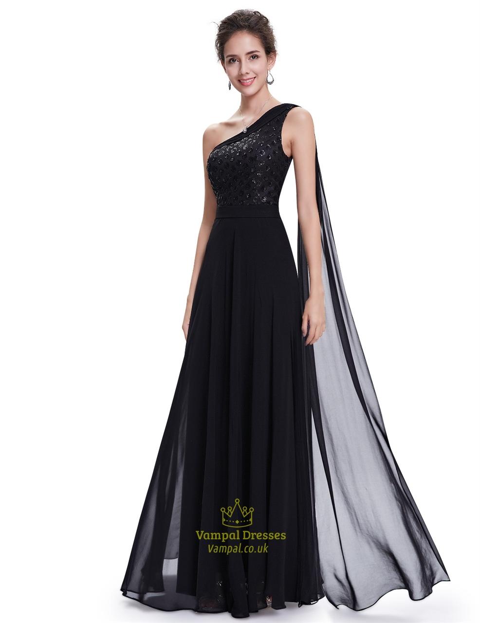 Black Chiffon Embellished One Shoulder Prom Dress With ...One Shoulder Black Prom Dresses