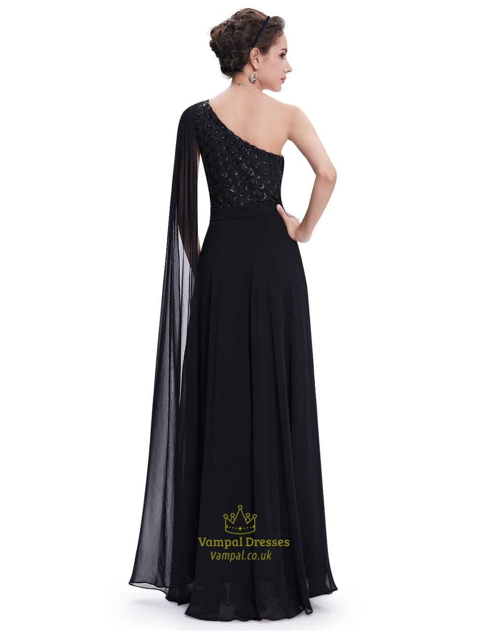 Black Chiffon Embellished One Shoulder Prom Dress With Watteau Train ...
