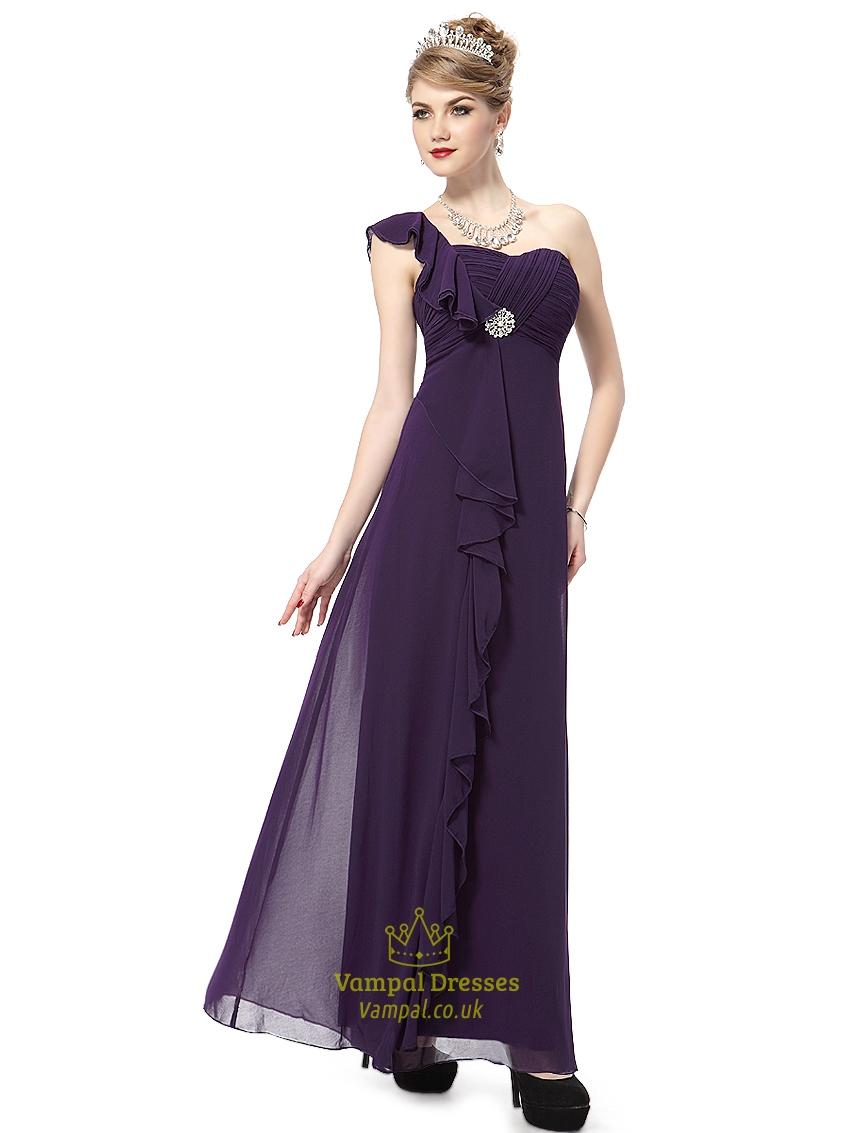 Purple chiffon one shoulder bridesmaid dresses with cascading purple chiffon one shoulder bridesmaid dresses with cascading detail ombrellifo Gallery