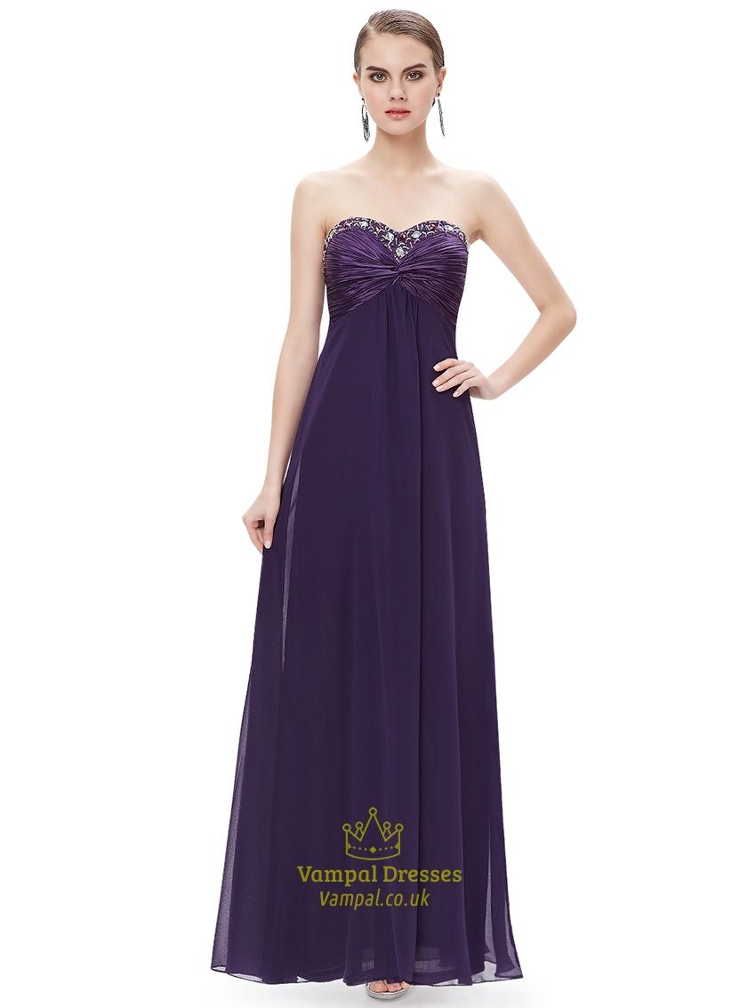 Purple chiffon sweetheart empire bridesmaid dresses with for Empire wedding dresses uk