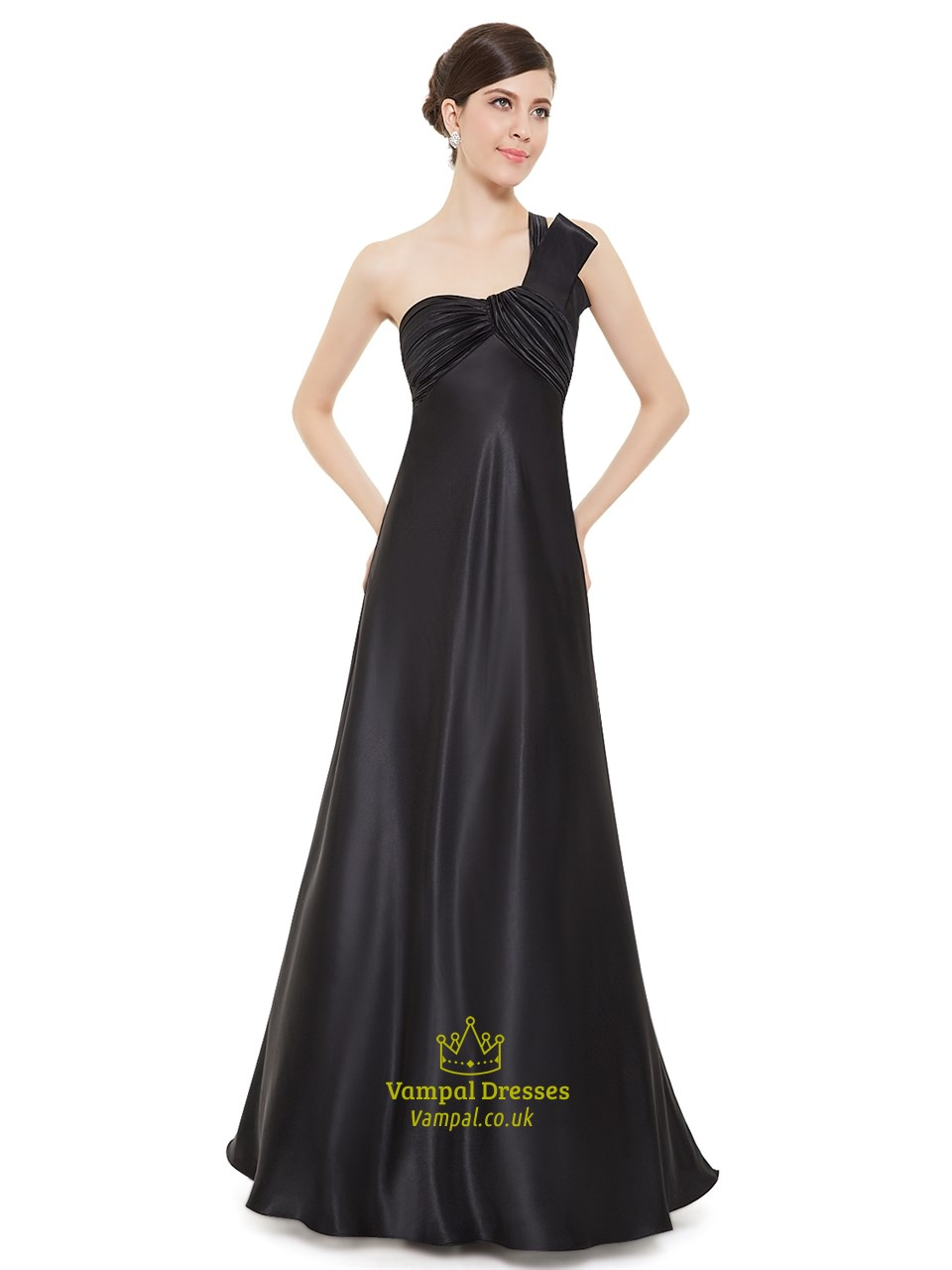 e41beda43df9 Black One Shoulder Empire Waist Bridesmaid Dresses With Ruching SKU -NW1426