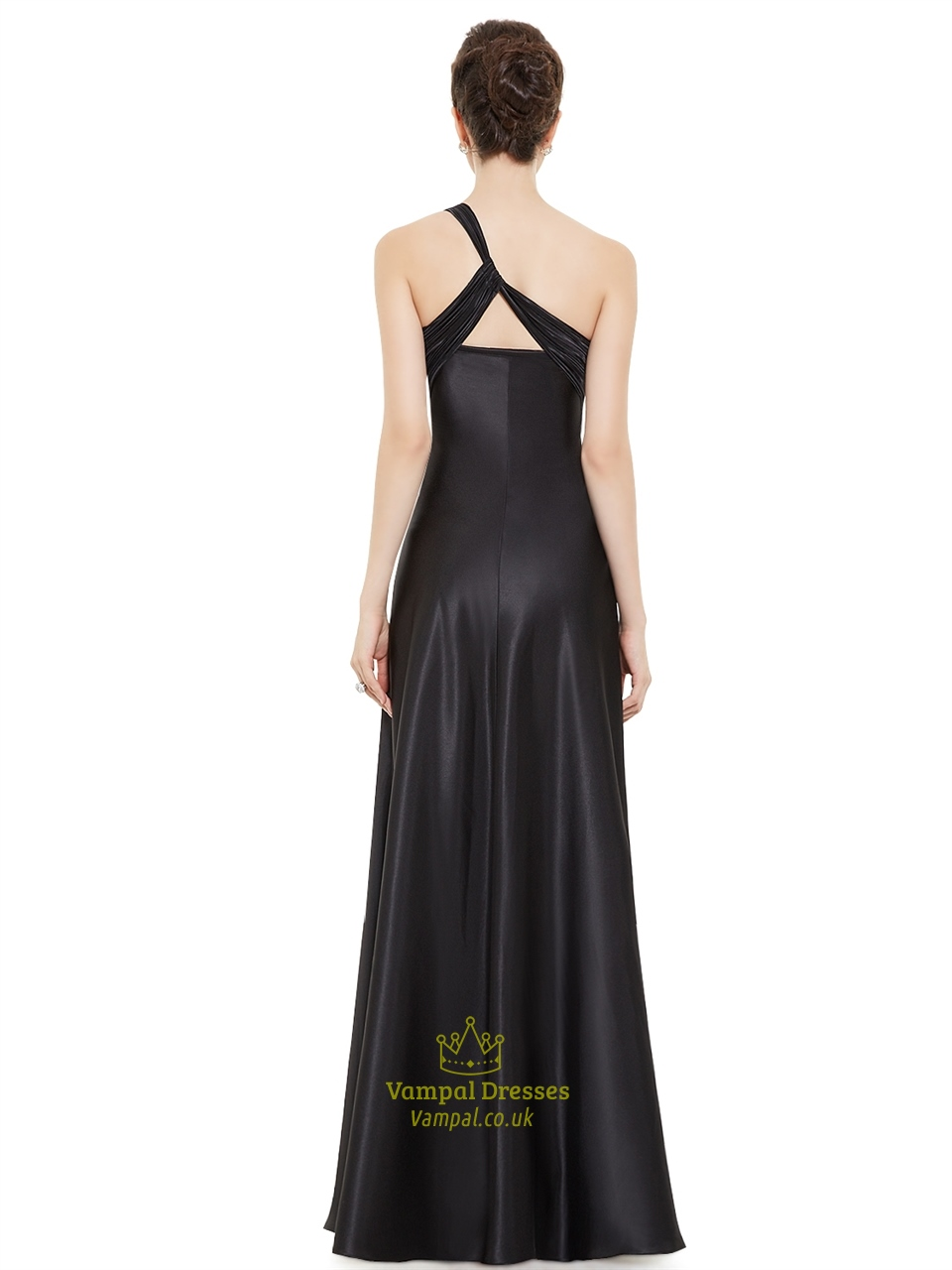 Black One Shoulder Empire Waist Bridesmaid Dresses With