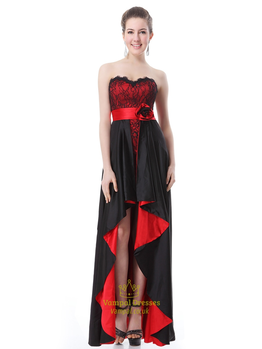 Black And Red Sweetheart Lace Bodice Prom Dresses With