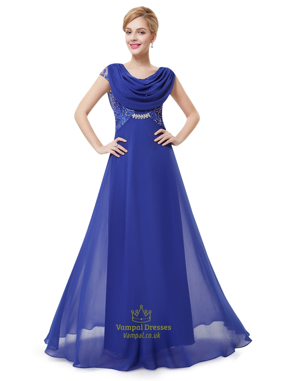 Royal Blue Cowl Neckline Lace Bodice Prom Dresses With