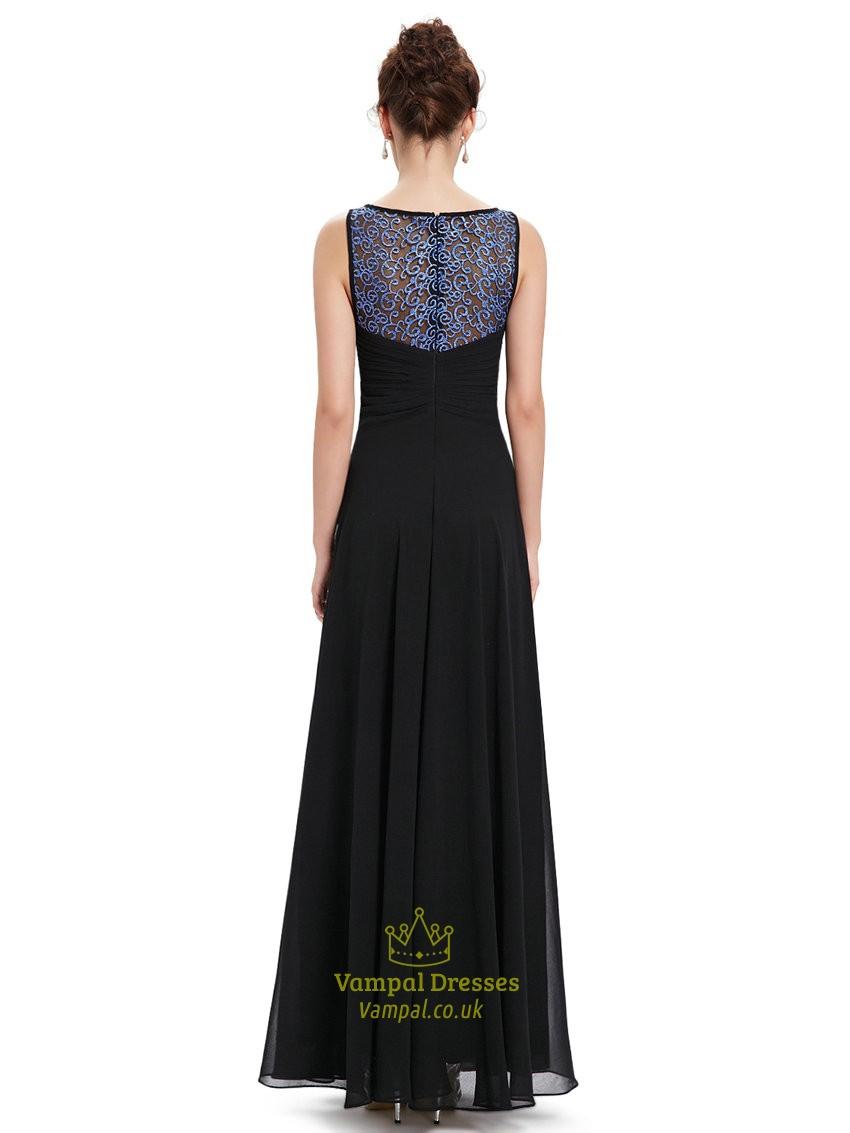 elegant black chiffon sleeveless prom dress with beaded