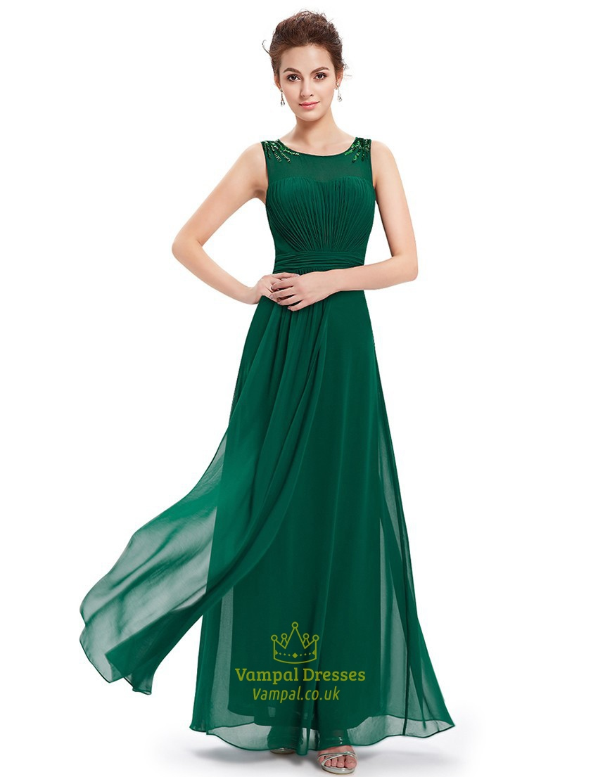 Emerald Green Chiffon Floor Length Bridesmaid Dresses With Beaded ...