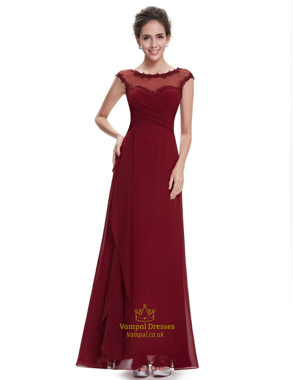Burgundy Chiffon Cap Sleeves Bridesmaid Dresses With Lace Applique | Vampal Dresses