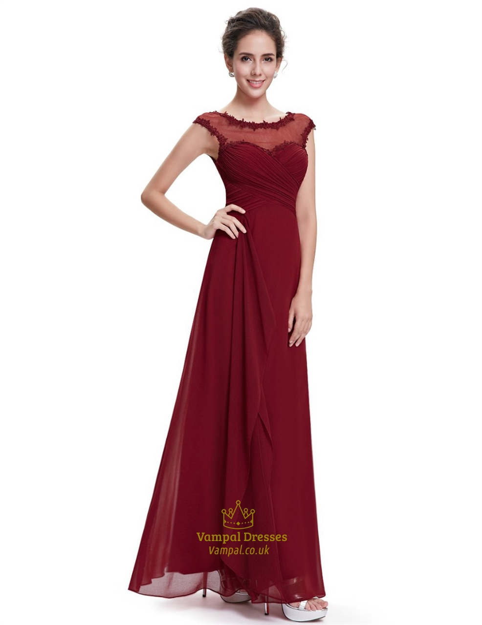 Burgundy chiffon cap sleeves bridesmaid dresses with lace for Wedding dress chiffon sleeves