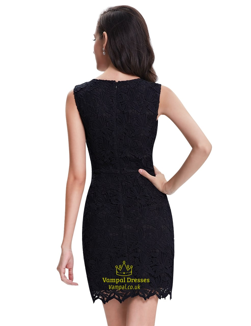 c24a3897d8a9 Elegant Black Lace Column Sleeveless Mini Cocktail Party Dress ...