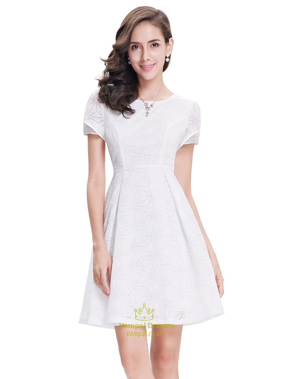 Elegant White Short Semi Formal Dresses With Short Sleeves Vampal