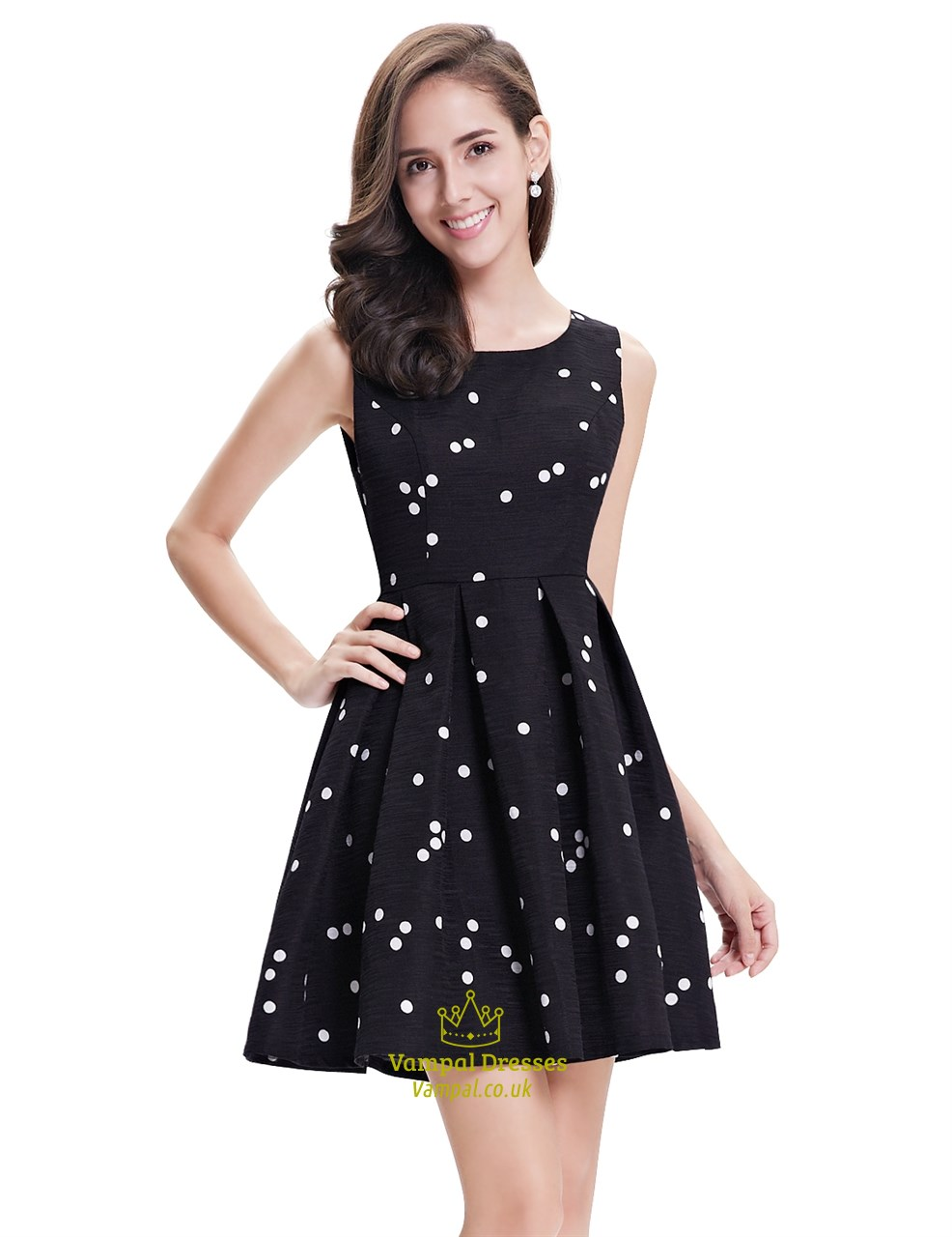 2969f6bb20f14 Black And White Polka Dot Sleeveless Short Dress For Cocktail Party ...
