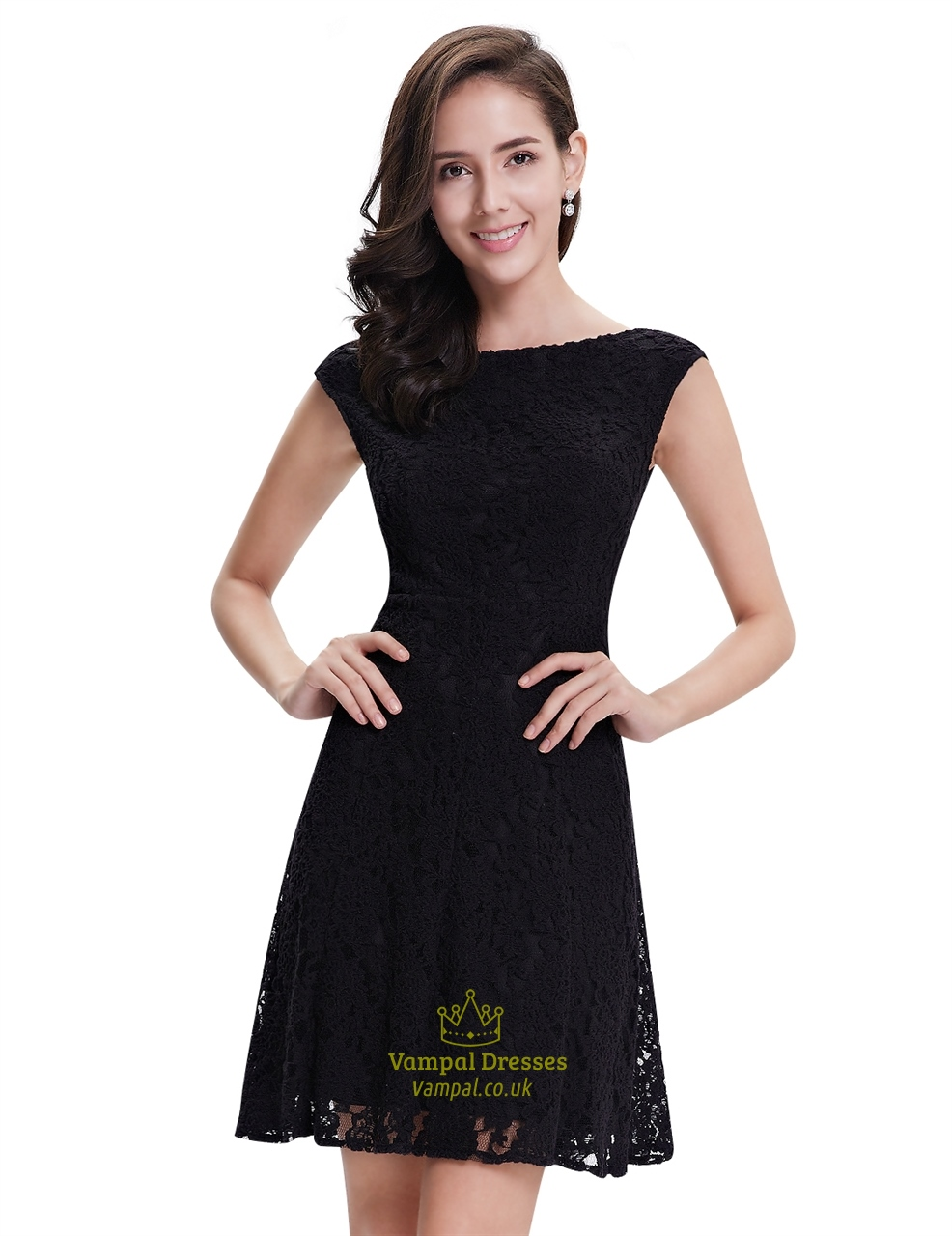 Elegant Black Lace Short Semi Formal Dresses With Cap ... |Formal Lace Dress With Sleeves