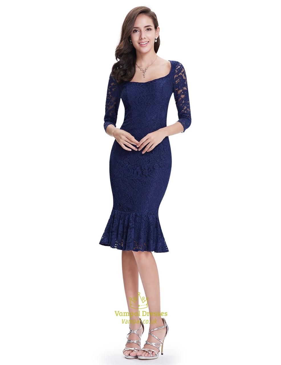 fdce33b90c2e0 Navy Blue Mermaid Tea Length Lace Prom Dresses Illusion 3/4 Sleeves SKU  -NW1444
