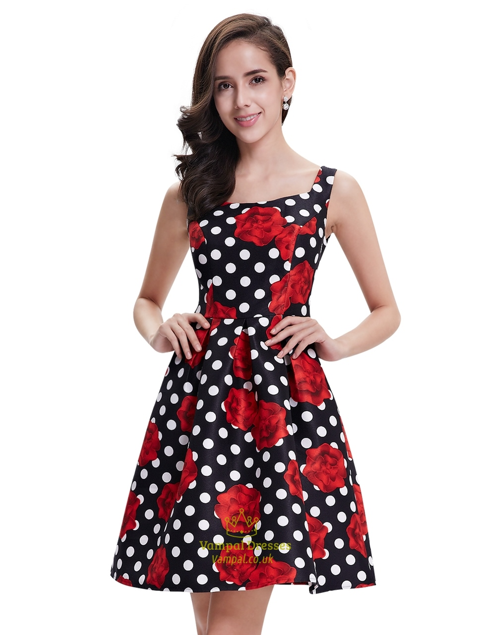 Black And White Polka Dot Summer Casual Dress With Floral Print ...