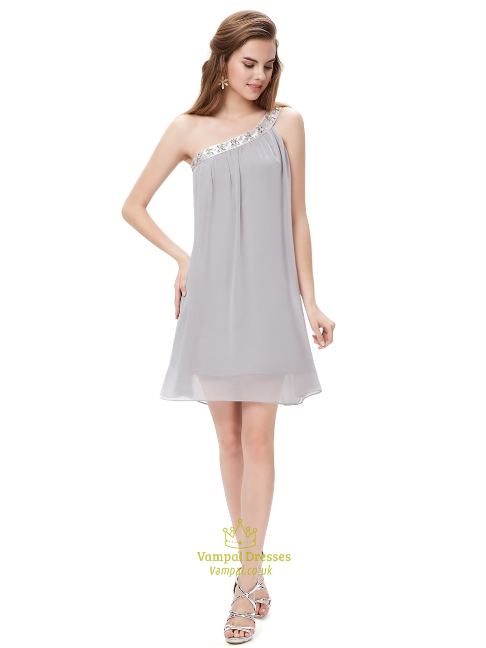 Grey One Shoulder Short Chiffon Bridesmaid Dresses With