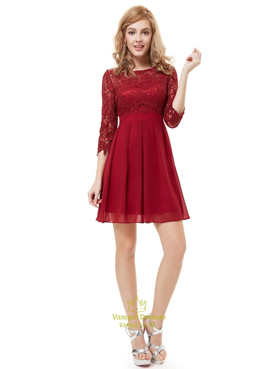 burgundy chiffon short a line bridesmaid dresses with half