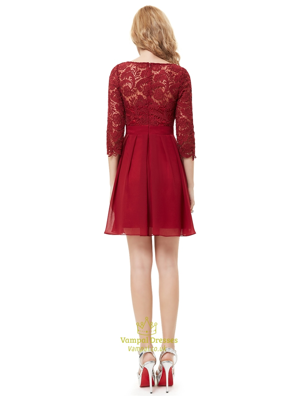 Burgundy Chiffon Short A Line Bridesmaid Dresses With Half