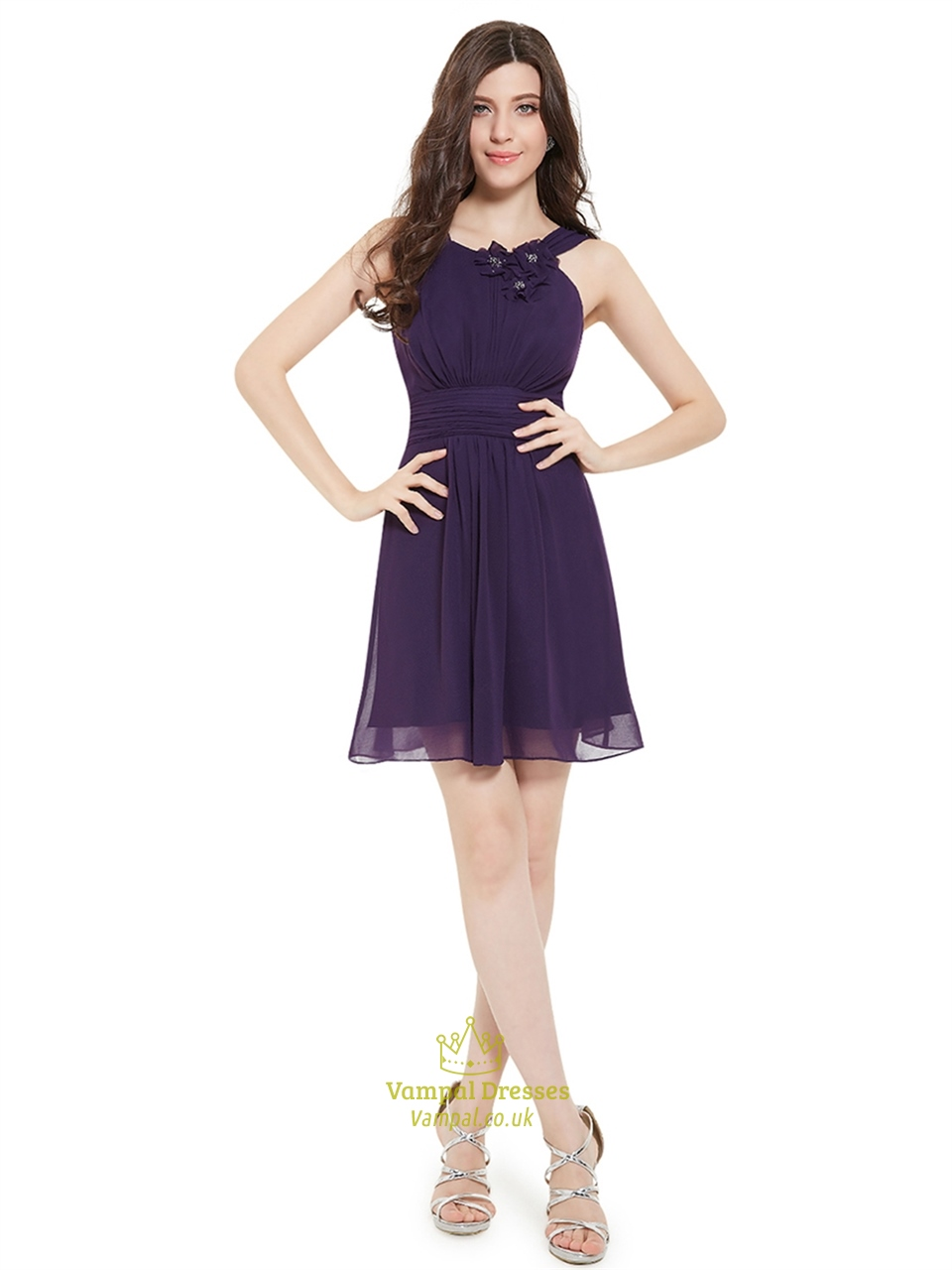 Purple chiffon jewel neckline bridesmaid dresses with for Jewel neckline wedding dress
