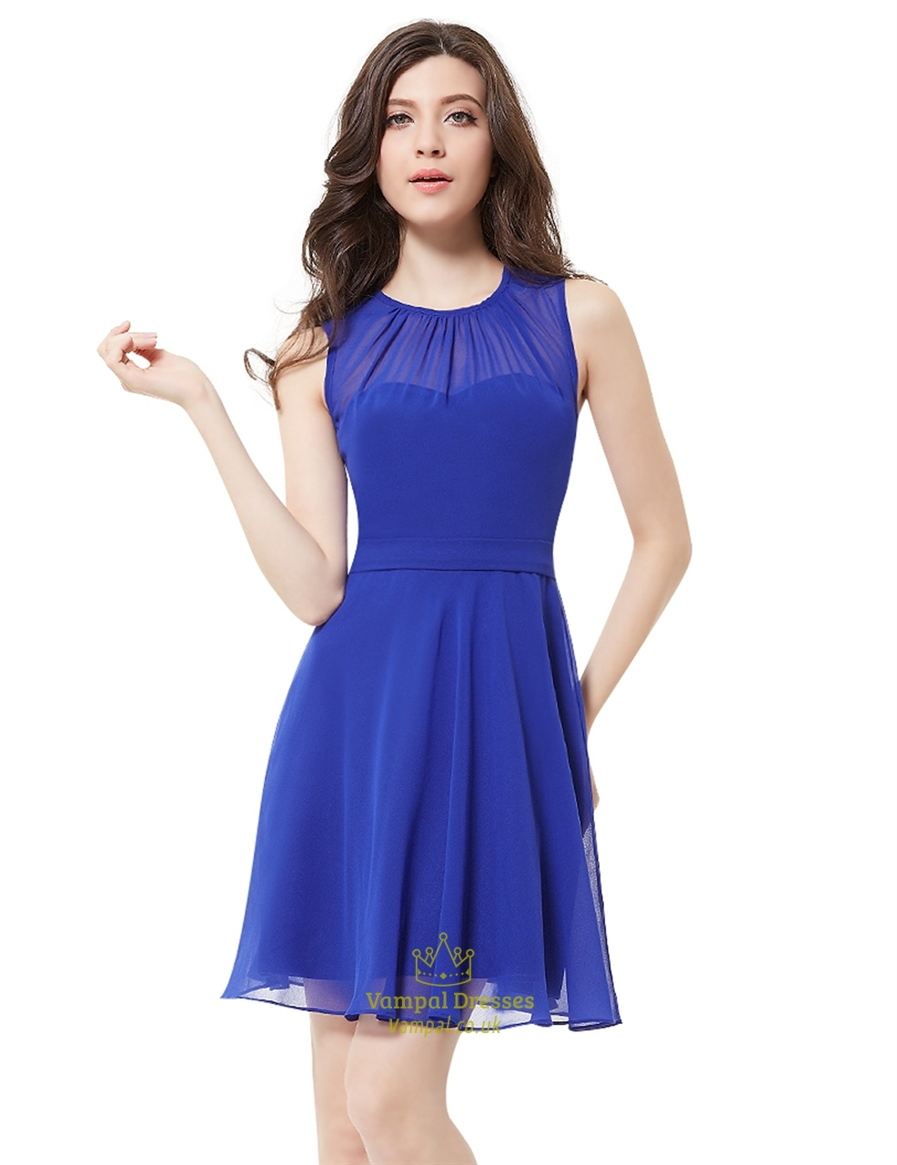 Elegant royal blue illusion neckline chiffon short for Short blue wedding dresses