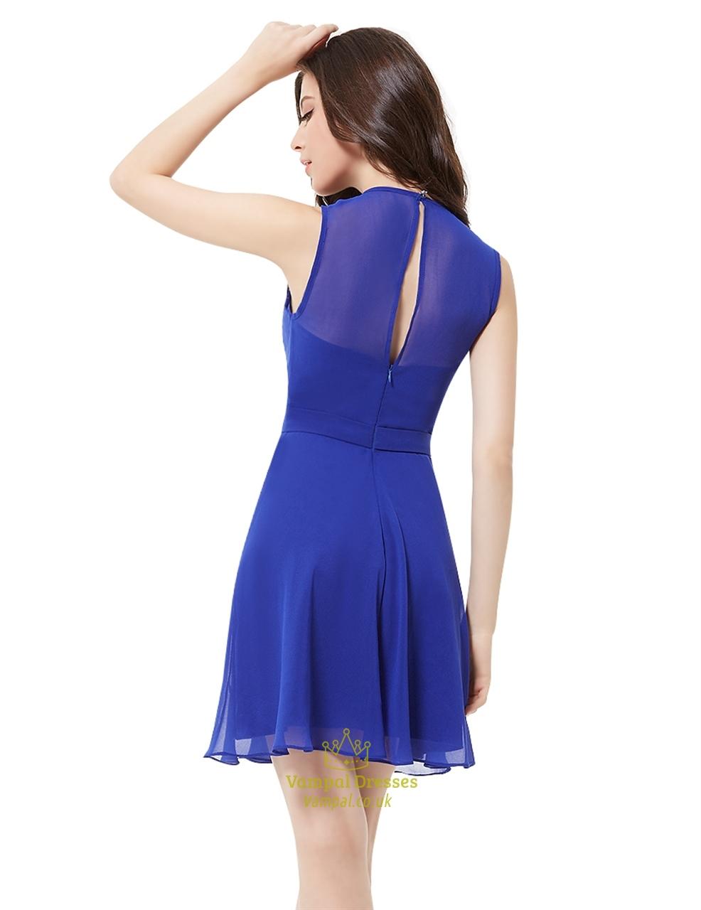 Elegant royal blue illusion neckline chiffon short for Short flowing wedding dresses