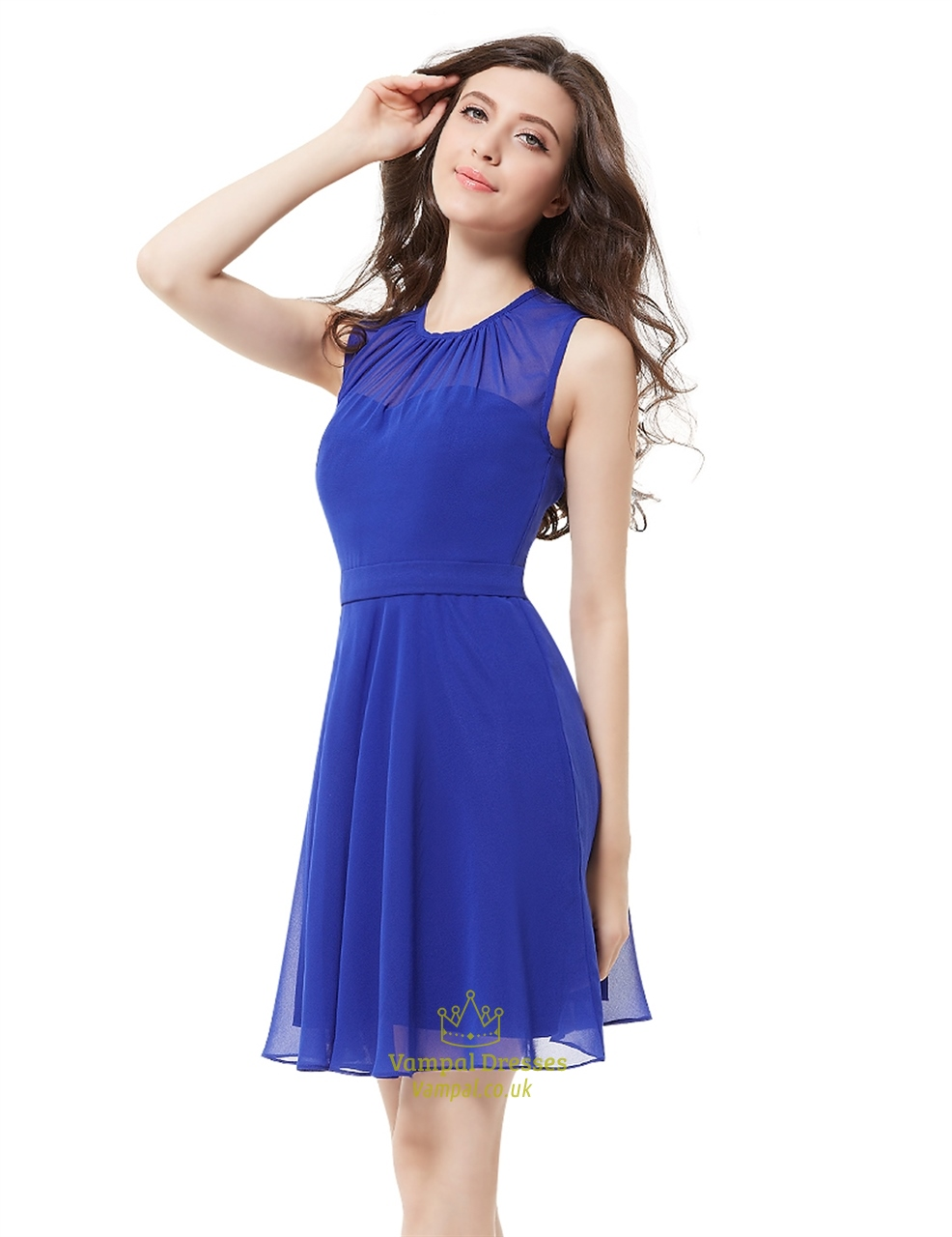 Elegant royal blue illusion neckline chiffon short for Royal blue short wedding dresses