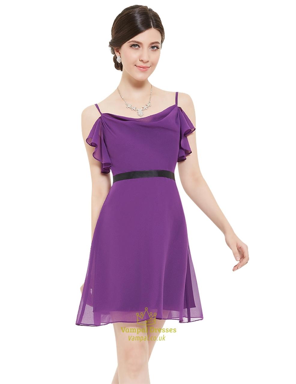 Violet Chiffon Spaghetti Strap Short Bridesmaid Dresses With Ruffles ...