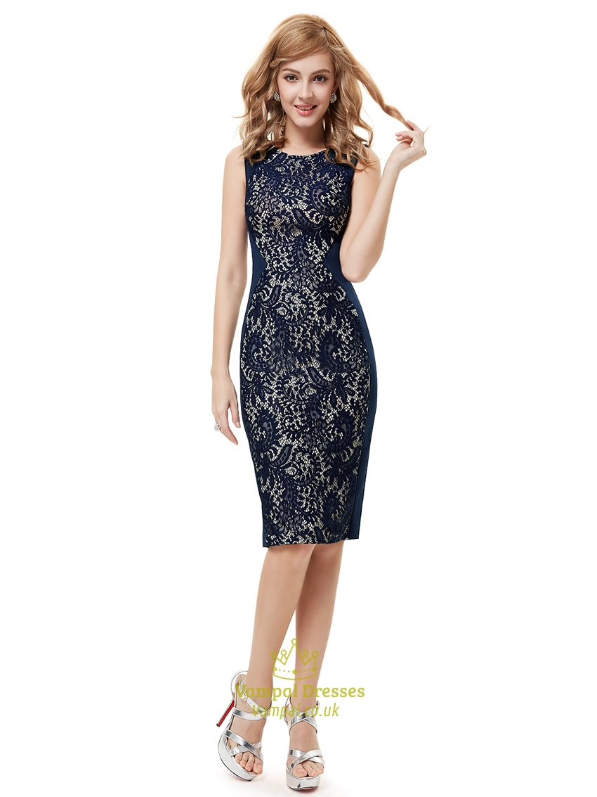 Navy Blue Lace Knee Length Sheath Dresses For Mother Of