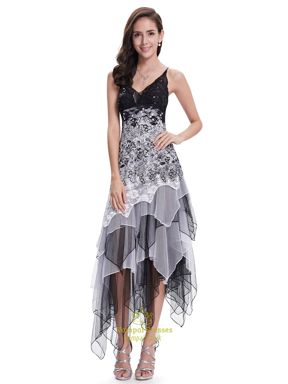 Black And White Lace Spaghetti Strap Prom Dress With