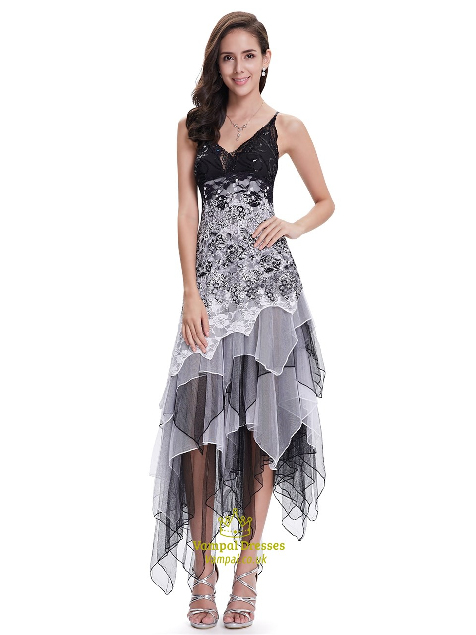 5074e1f7527f Black And White Lace Spaghetti Strap Prom Dress With Ruffled Skirt SKU  -NW1458