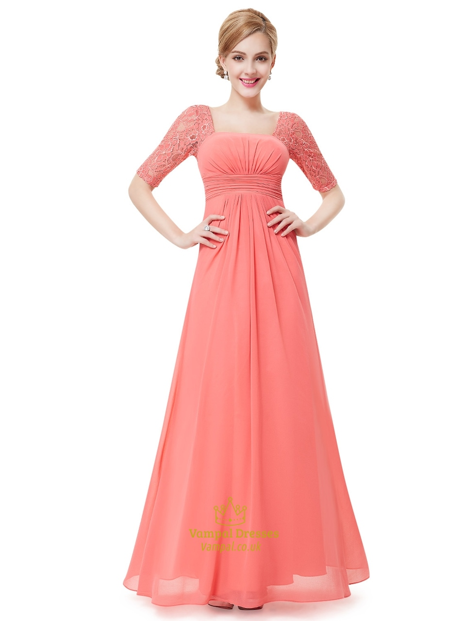 Coral chiffon floor length bridesmaid dress with lace half sleeves coral chiffon floor length bridesmaid dress with lace half sleeves ombrellifo Image collections
