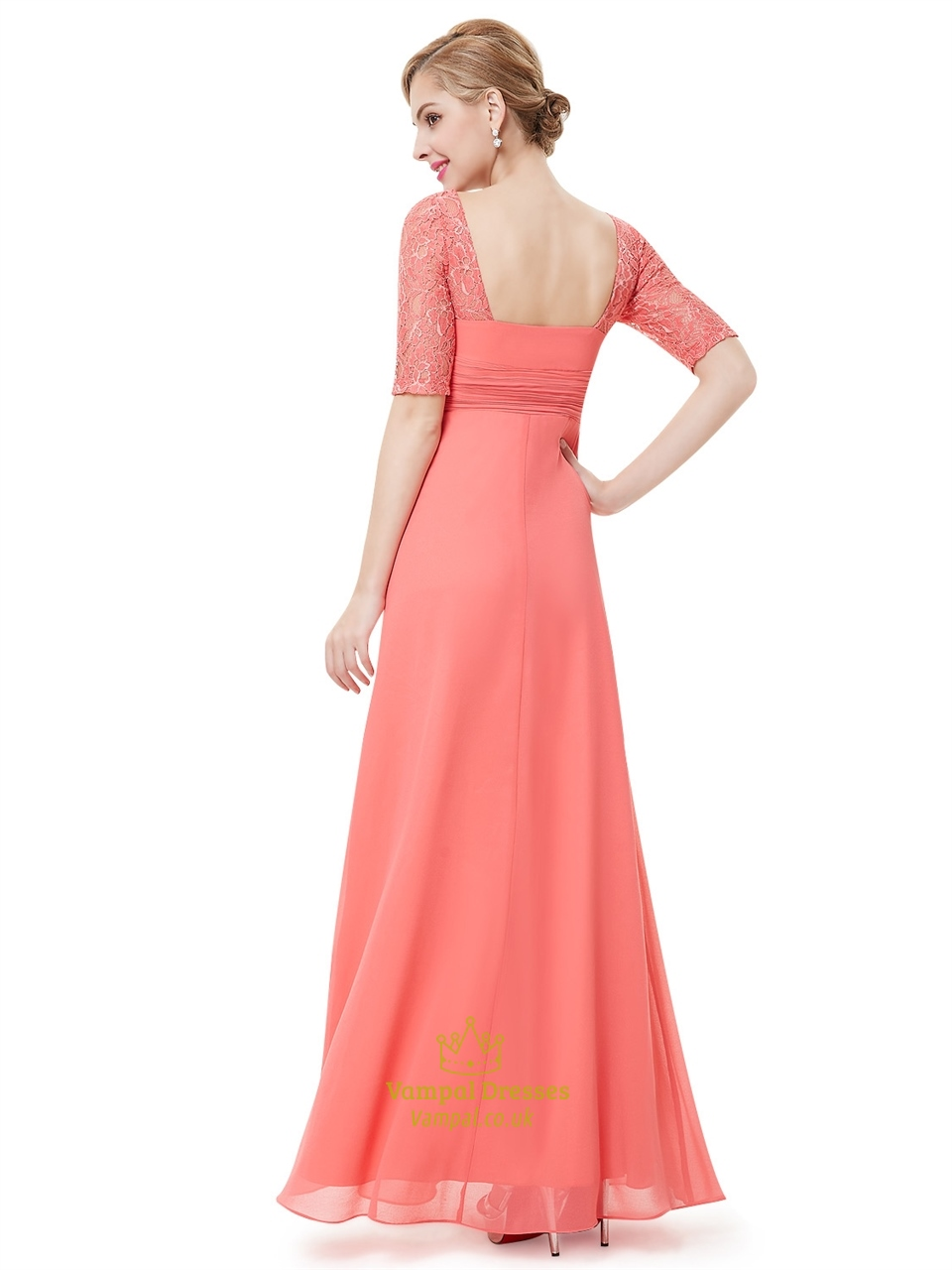 Coral chiffon floor length bridesmaid dress with lace half for Wedding dress chiffon sleeves